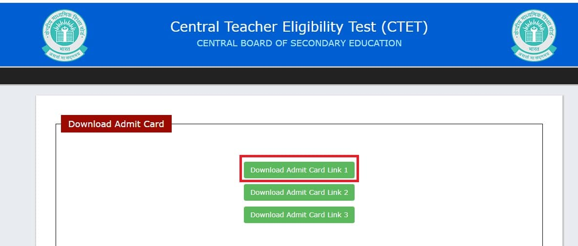 CTET Admit Card 2021 Download